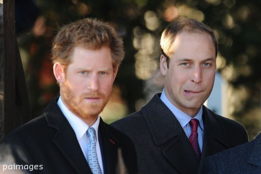 Prince Harry (left) and the Duke of Cambridge after the traditional Christmas Day church service at St Mary Magdalene Church on the royal estate in Sandringham, Norfolk.