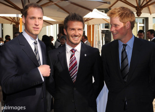 File photo dated 19/06/10 of David Beckham (centre), Prince William (left) and Prince Harry at an FA reception at the Saxon Hotel in Johannesburg, as David Beckham turns 40 on May 2.