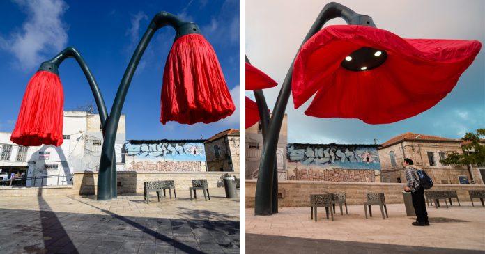 Gigantescas lamparas florecen jerusalen warde banner