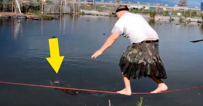 Este individuo rescata un cocodrilo de la manera mas ridicula posible