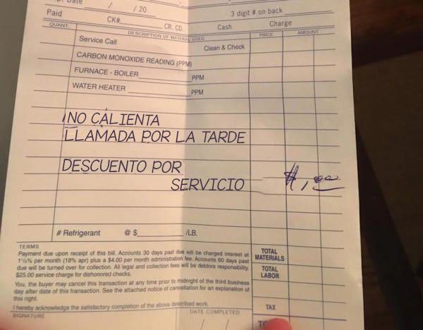 Le pidió ayuda para que reparase su caldera... ¿Lo que escribió en la factura? ¡Se ha vuelto COMPLETAMENTE Viral!