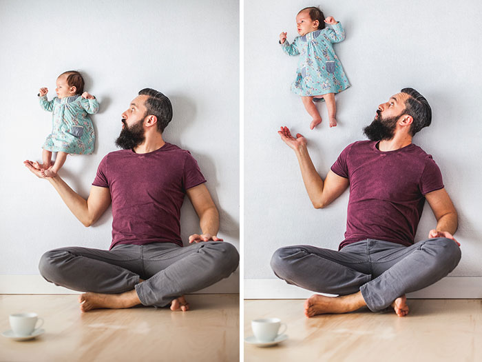 Padre e hija recien nacida se divierten jugando 05