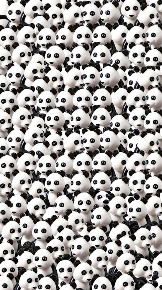 Un Astuto perro se convierte en un reto escondiéndose entre una multitud de Pandas