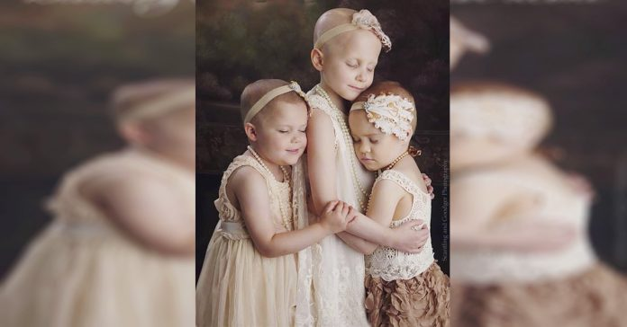 Tres pequenas reunidas en una foto contra el cancer se hace rapidamente viral banner