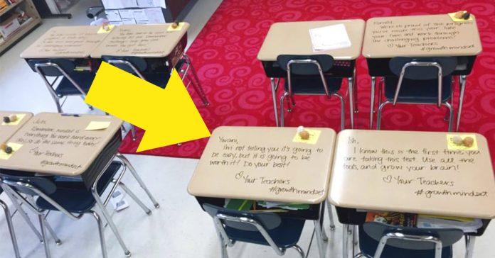 Estos estudiantes entraron en clase para un examen... Entonces vieron ESTO escrito en sus mesas banner