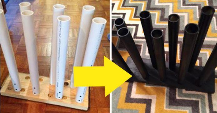 Atornillo unos tubos de PVC a un trozo de madera para hacer ESTO para su armario Necesitas uno ahora mismo banner