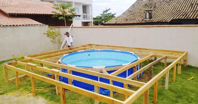 construye tu propia piscina jardin plastico madera