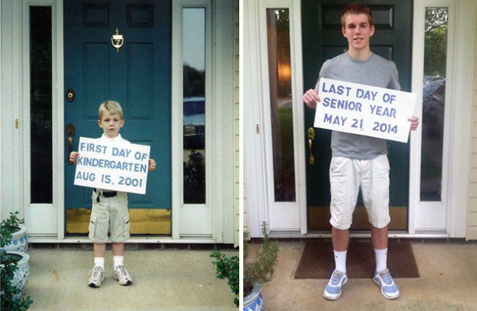 20 divertidas imágenes del primer día vs el último día de colegio