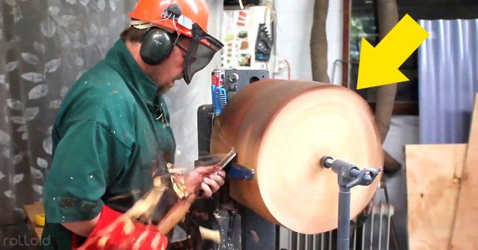 hombre transforma tronco tulipa lampara aceite