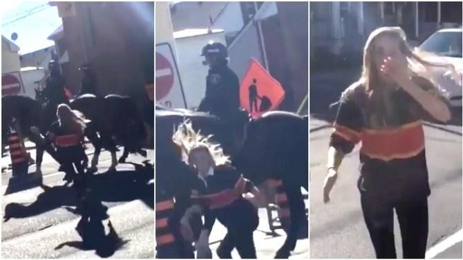 Una joven le da un manotazo al caballo de una policía, y éste se lo devuelve