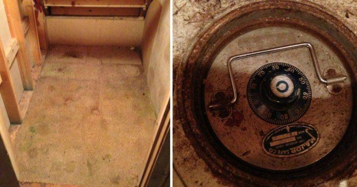 tras morir sus abuelos rasgo una vieja alfombra para encontrar una caja fuerte oculta en el suelo banner