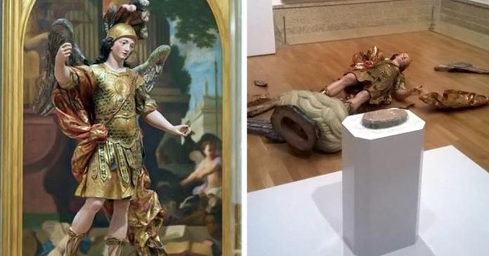 18th century statue destroyed tourist selfie fb