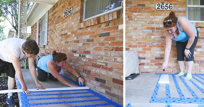 como decorar tu porche con pintura y cinta adhesiva banner