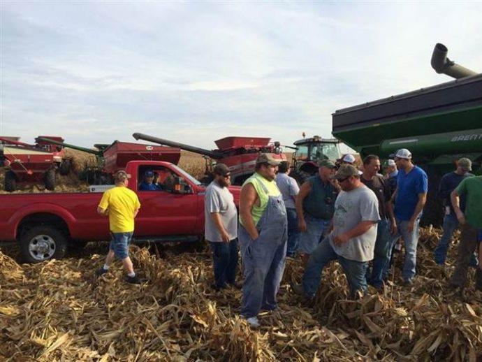 Una comunidad de granjeros ayuda a uno de sus miembros con cáncer a cosechar su plantación en un tiempo récord