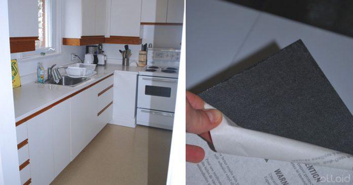 dale un cambio radical a tu cocina con un poco de vinilo banner