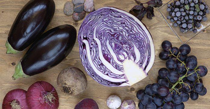 frutas y verduras moradas banner