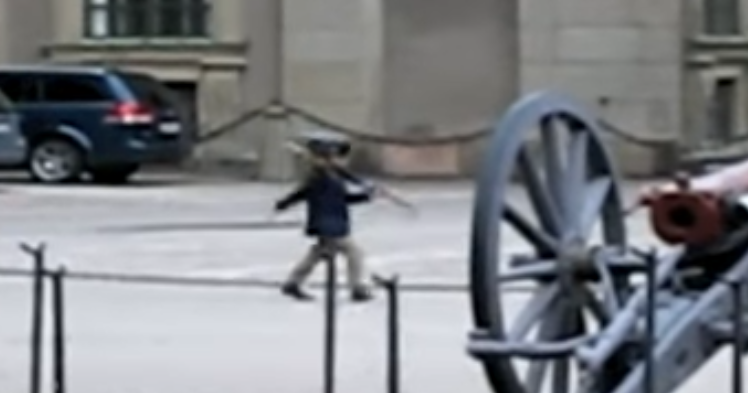 Un pequeño se viraliza al ser pillado tratando de imitar a un guardia real