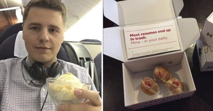 la genial idea de este joven para buscar trabajo entregando su curriculum en cajas de donuts banner