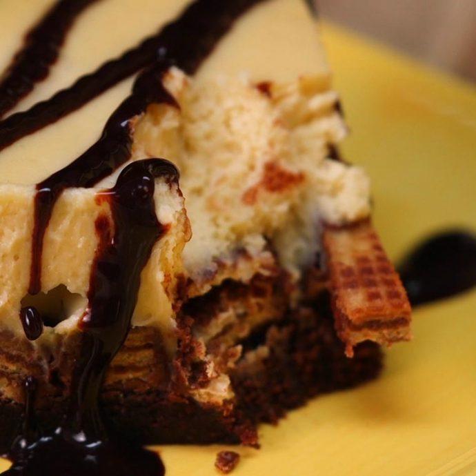Cómo preparar un brownie de tarta de queso y kitkat