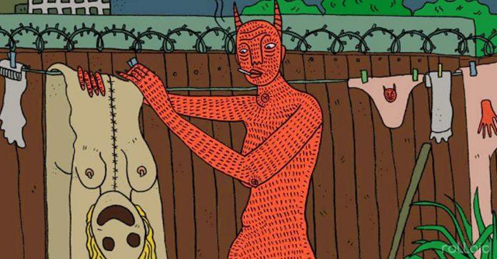 dibujos de una artista que plasman a una mujer y sus demonios banner