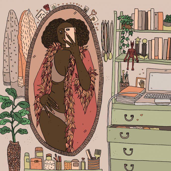 Dibujos de una artista que plasman a una mujer y sus demonios.