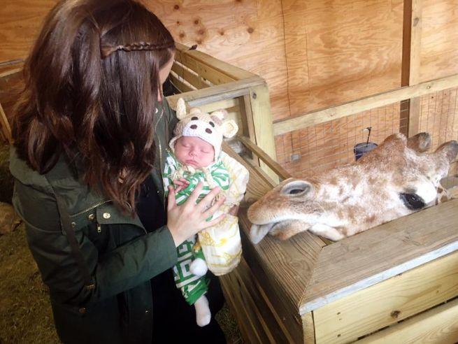 Una mamá da a luz a su bebé con una máscara de jirafa y sus fotos se hacen virales.
