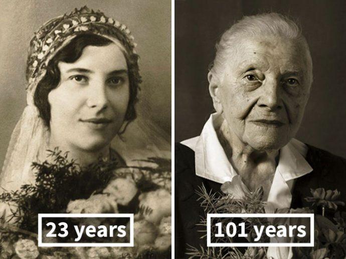 Antes y ahora: la misma gente fotografiada de jóvenes y con 100 años de edad