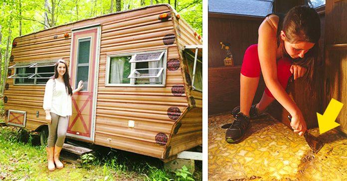 chica se pasa todo el verano transformando su remolque caravana banner