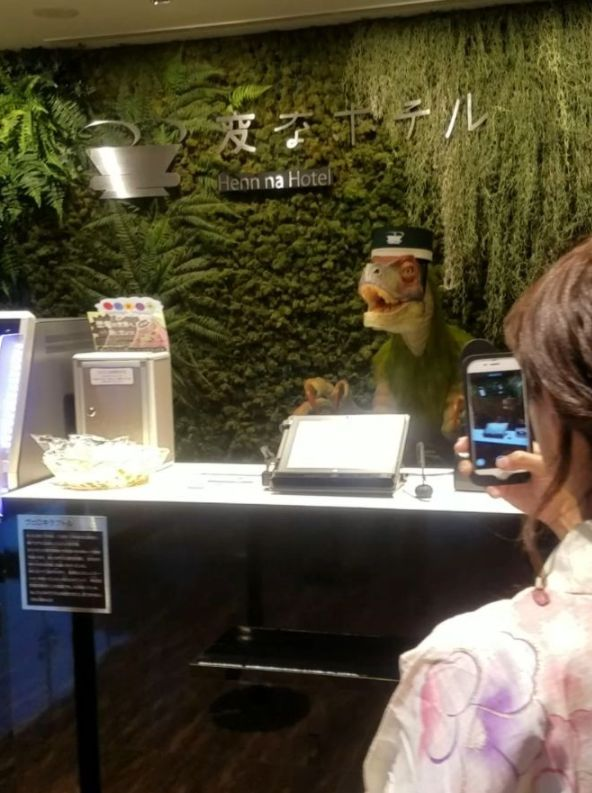 15 increíbles inventos que siguen existiendo solo en Japón recepcionista dinosaurio