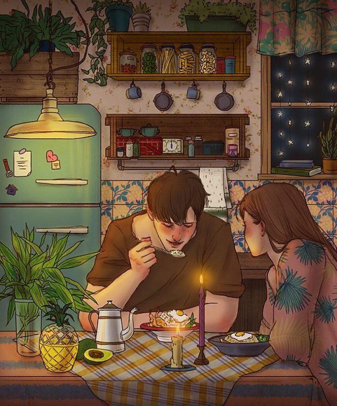 20 Imágenes ilustradas por una artista Coreana que muestran la belleza de vivir en pareja