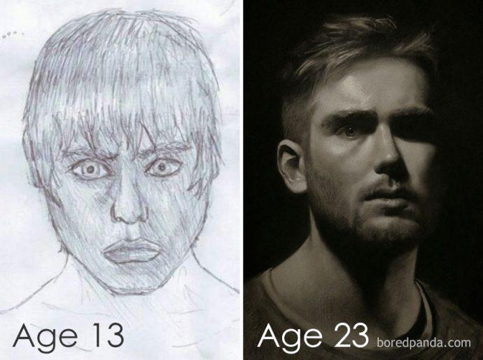 20 Imágenes del antes y después de dibujos que demuestran que cualquiera puede pintar como un artista
