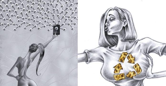 todo lo que esta mal en nuestra sociedad capturado en las ilustraciones de al margen banner