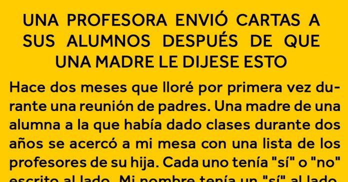 una profesora le envia una carta a todos los alumnos despues de que una madre le contase algo banner