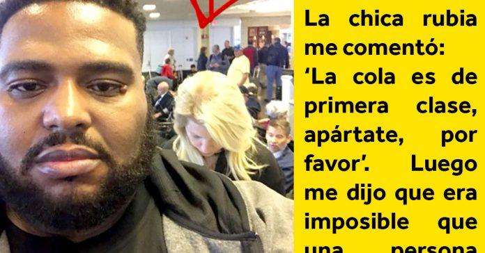 hombre de color da una leccion de racismo en cola embarque banner