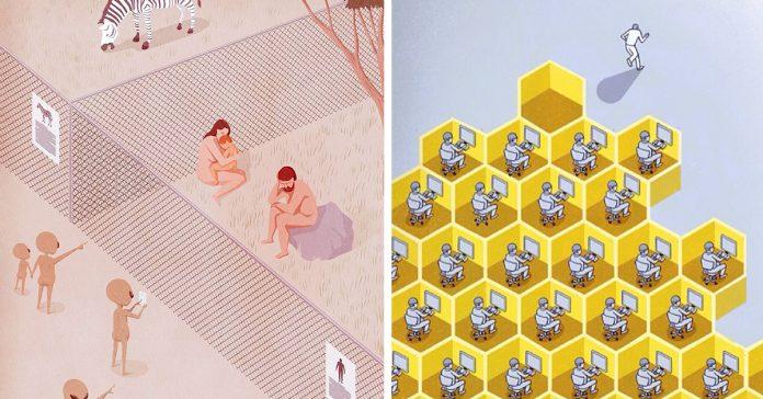 ilustraciones que nos muestran lo loco que esta el mundo moderno banner