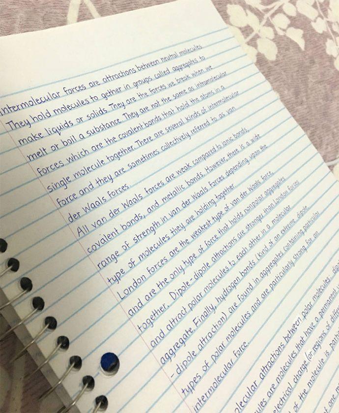 20 Ejemplos de Caligrafía perfecta de apuntes de clase que parecen escritos a ordenador
