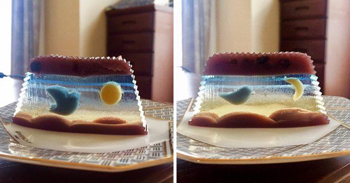 6 Curiosas Imágenes del postre japonés que cambia de escena en cada corte de la tarta