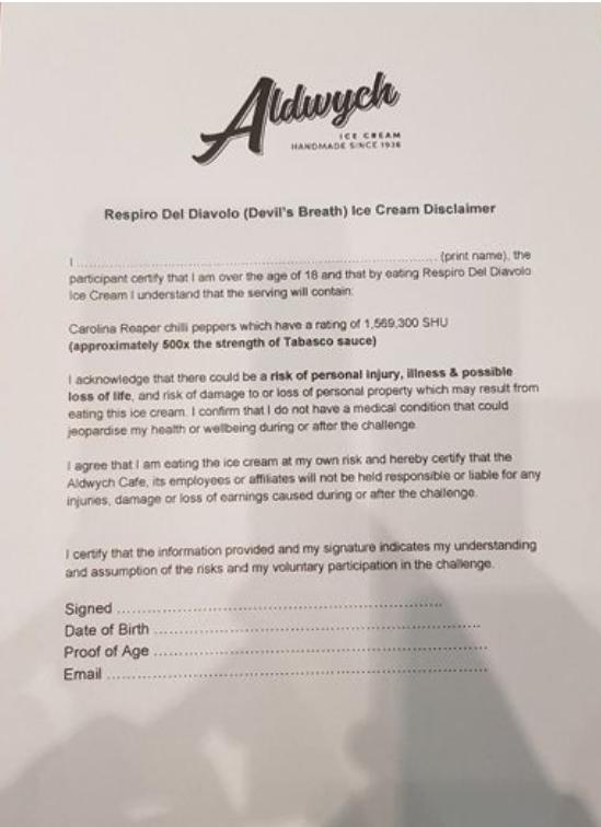 Respiro del Diavolo, el helado más peligroso del mundo con el que obligan a firmar un contrato antes de comértelo