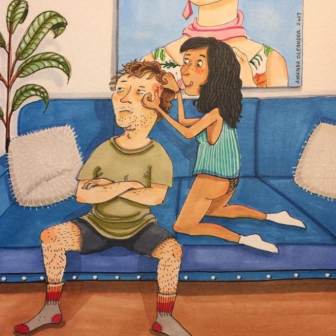 18 Realistas Ilustraciones que muestran el verdadero lado de una pareja cuando nadie está mirando