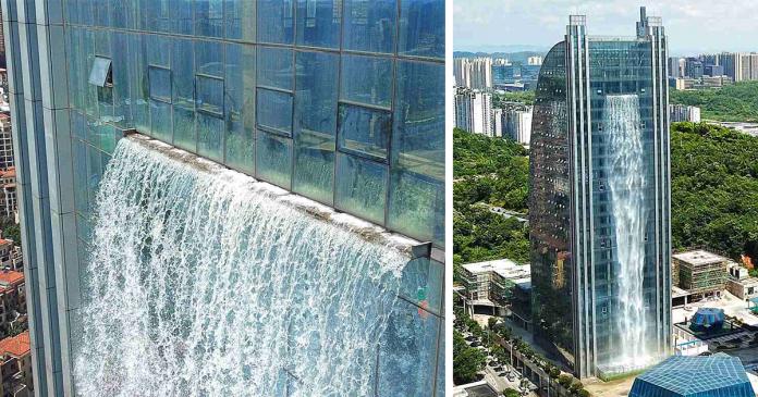 chinos construyen cascada gigante rascacielos banner
