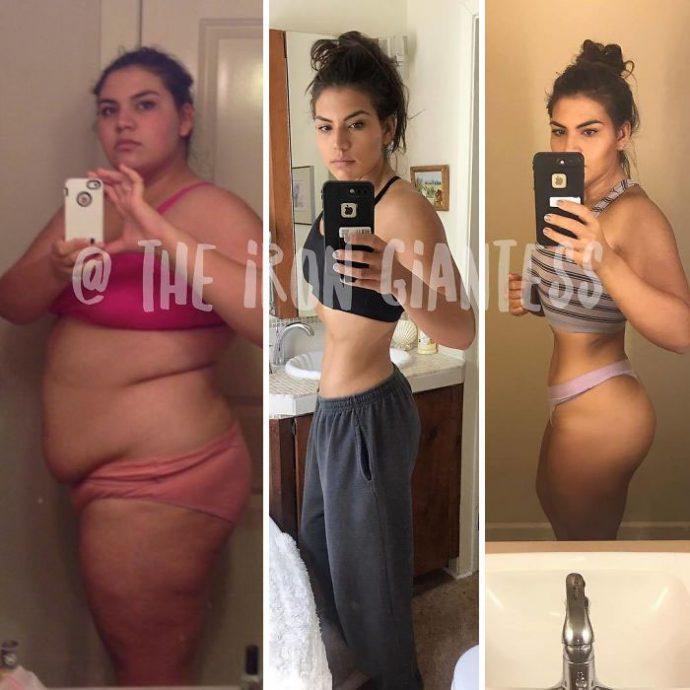 9 Imágenes que muestran la transformación de una mujer de 140 kg tras 3 años de entrenamiento