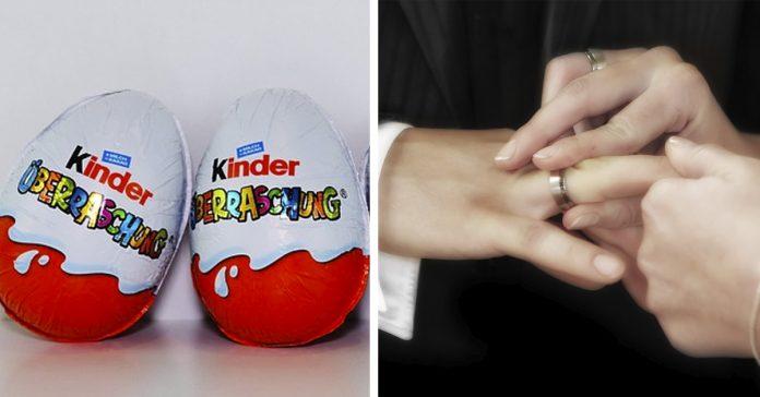 una mujer coloca el anillo de pedida en un kinder sorpresa y se lo guarda dentro de ella banner