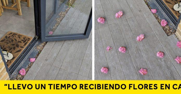 una mujer encuentra extrano amante que llevaba dejando flores banner