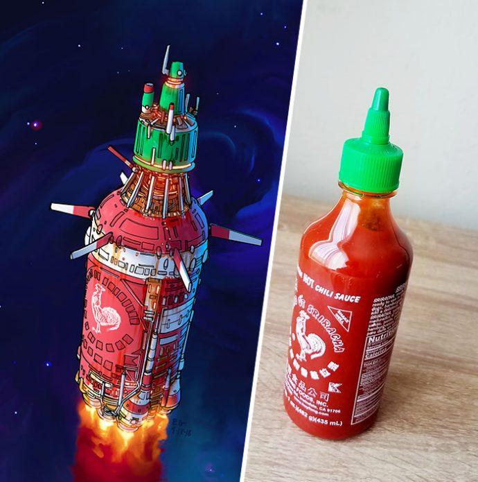 10 Ilustraciones que muestra el ingenio de un artista transformando objetos cotidianos en diseños del espacio