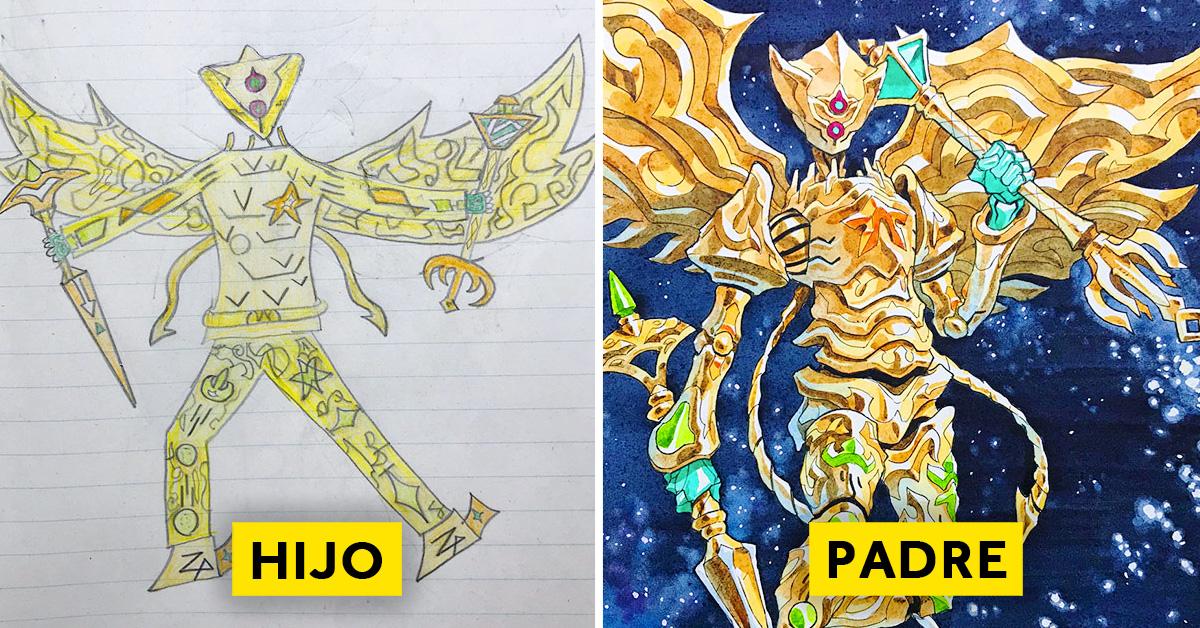 padre convierte los dibujos de su hijo en personajes de anime con un resultado espectacular 01