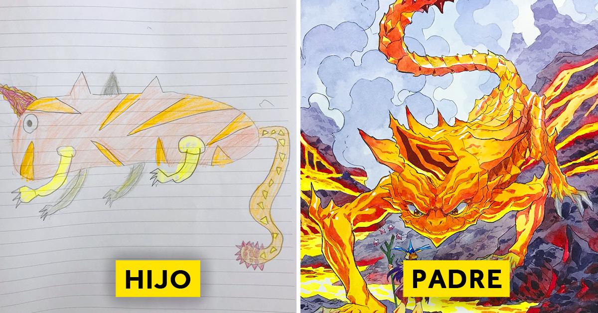 padre convierte los dibujos de su hijo en personajes de anime con un resultado espectacular 02