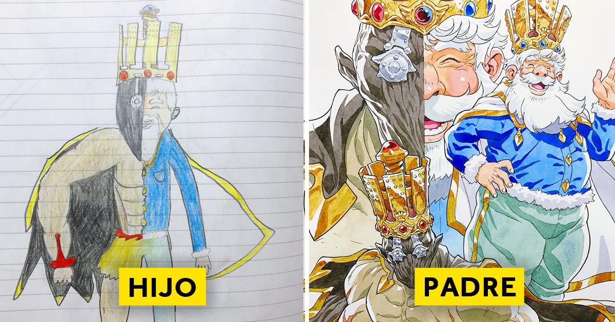 padre convierte los dibujos de su hijo en personajes de anime con un resultado espectacular 03