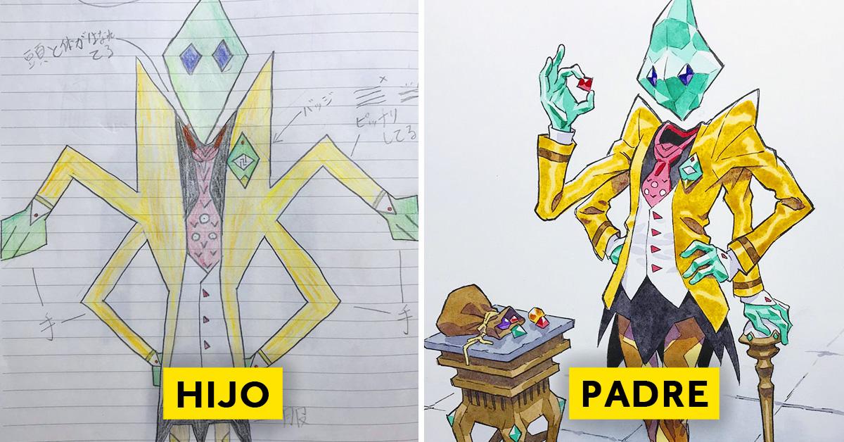 padre convierte los dibujos de su hijo en personajes de anime con un resultado espectacular 04