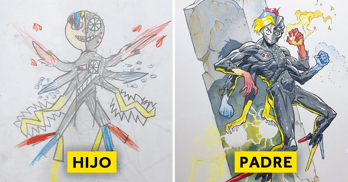 padre convierte los dibujos de su hijo en personajes de anime con un resultado espectacular 05