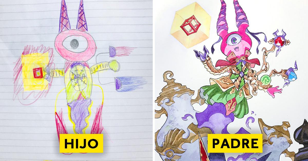 padre convierte los dibujos de su hijo en personajes de anime con un resultado espectacular 06